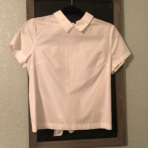 White button back collared top